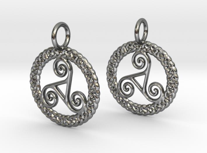 Triskelion Knot work earrings 3d printed