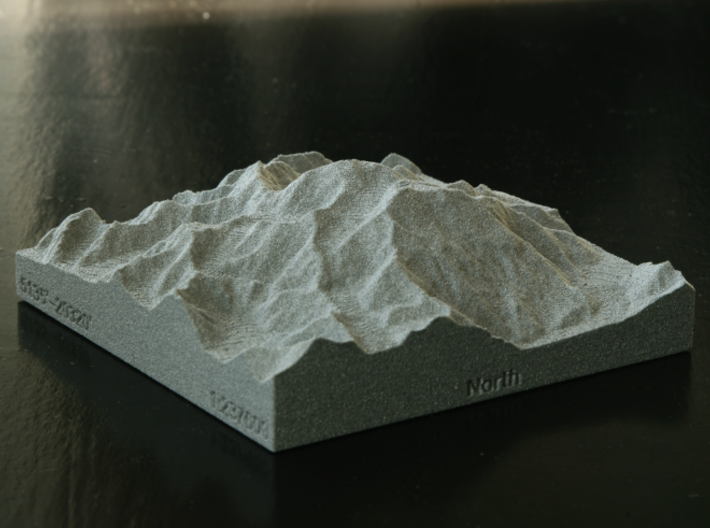3'' Denali, Alaska, USA, Sandstone 3d printed Photo of actual model *in Alumide*, viewed from the NE