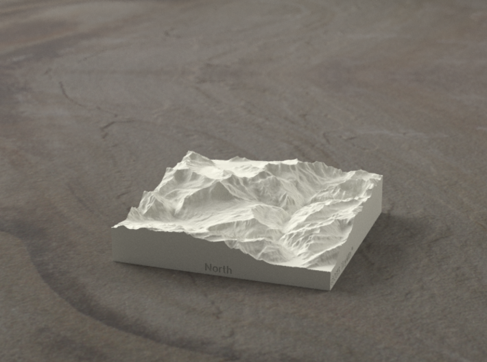 3''/7.5cm Oberland Peaks, Switzerland, Sandstone 3d printed Radiance rendering of model, looking South up the Lauterbrunnen Valley.