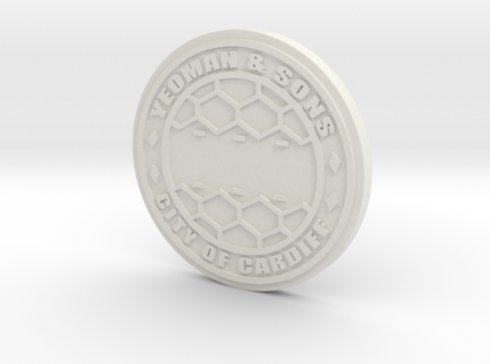 1:16 Customizable Scale Manhole Cover City of Card 3d printed