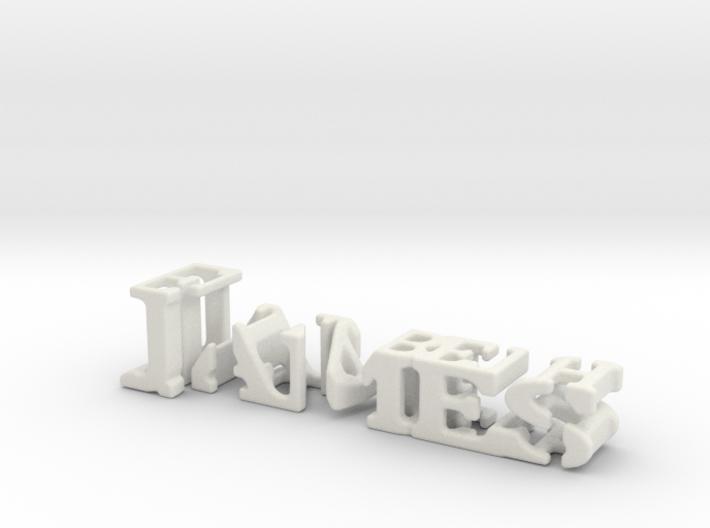3dWordFlip: James/Elizabeth 3d printed