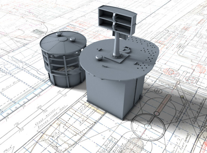 1/72 Flowers Class RDF Lantern and Office 1942 3d printed 3d render showing view from Fore/Port