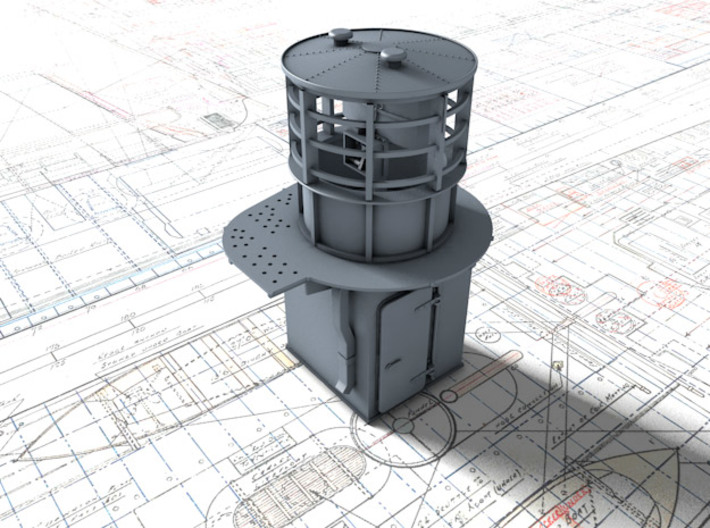 1/144 Flowers Class RDF Lantern and Office 1942 3d printed 3d render showing view from Aft/Starboard