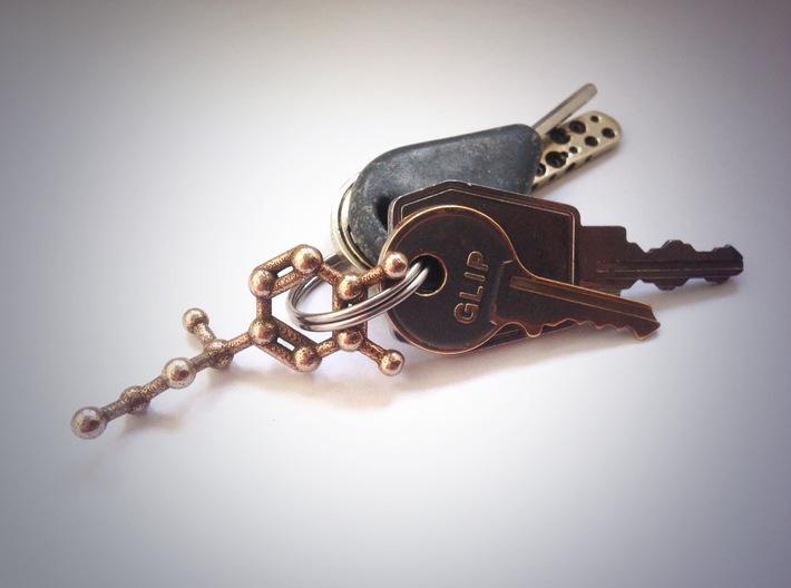 Adrenaline Molecule Necklace Keychain 3d printed Adrenaline molecule keychain in Stainless Steel