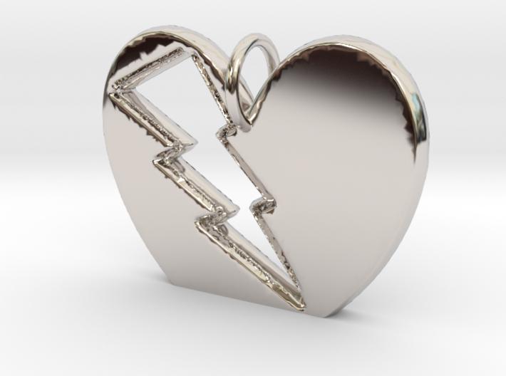 Lightening in your Heart pendant 3d printed