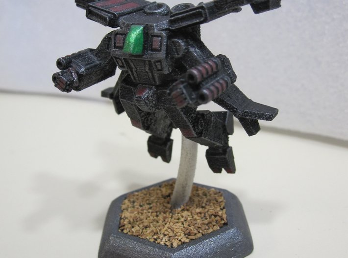Mecha- Crusher LAM AirMech (1/285th) 3d printed Painted by Devin Ramsey (Sumaire) in 'Dreadnought BattleCorps' colors for use in Battletech tabletop wargaming