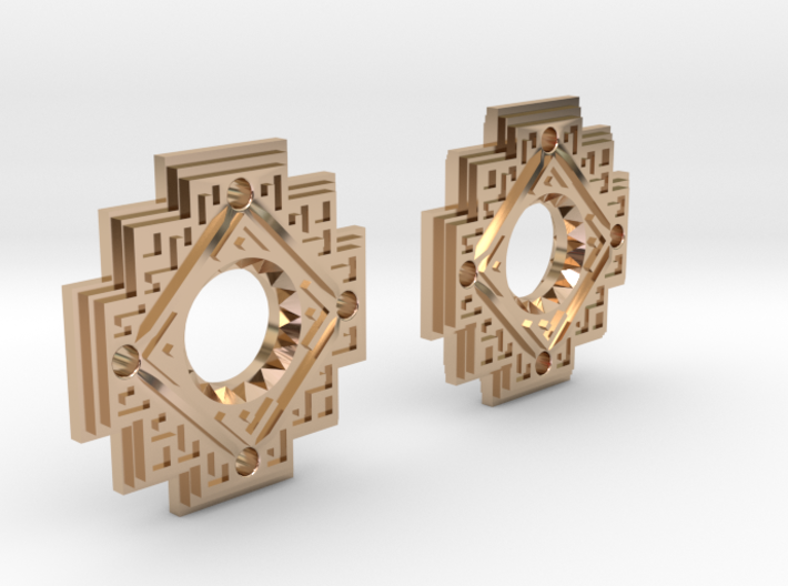 Inca Cross Earrings 3d printed
