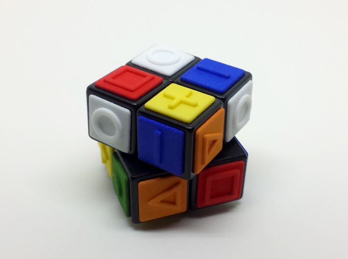Orange replacement tile (Rubik's Blind Cube) 3d printed 24 tiles of six colors glued to a 2x2x2 cube