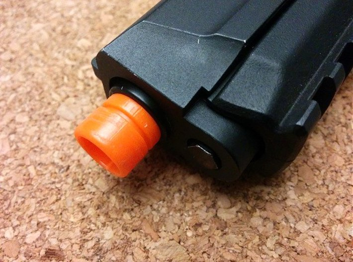 Pistol Muzzle Adapter (Orange Tip to 14mm-) 3d printed