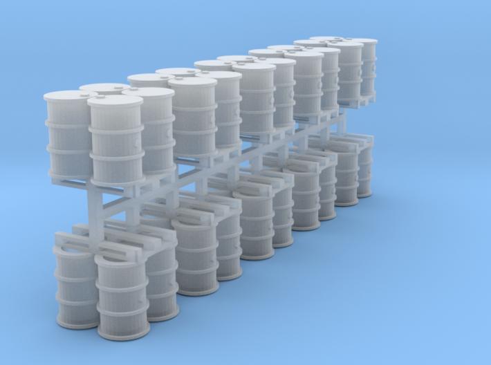 200 Liter 4 Fässer auf Europalette 10er Set - 1:12 3d printed