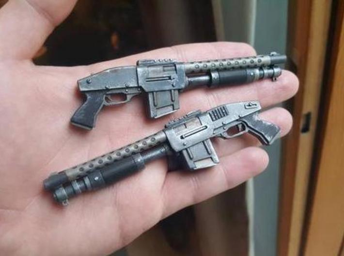 Zx76 Double Barrel Shotgun 1:10 scale 3d printed Zx-76 model in frosted ultra detail, hand paited.  size shown is 1:6 scale.