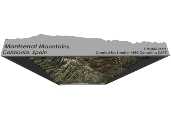 Montserrat Mountains Map: A4 Size 3d printed