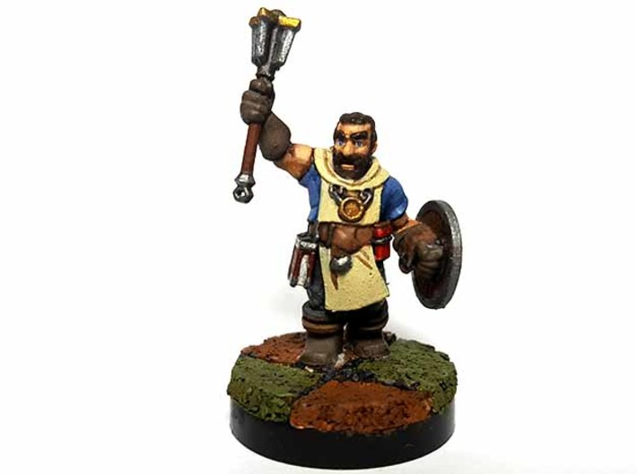 Dwarf Cleric 3d printed Painted with acrylic paints and mounted on a 1 inch base.