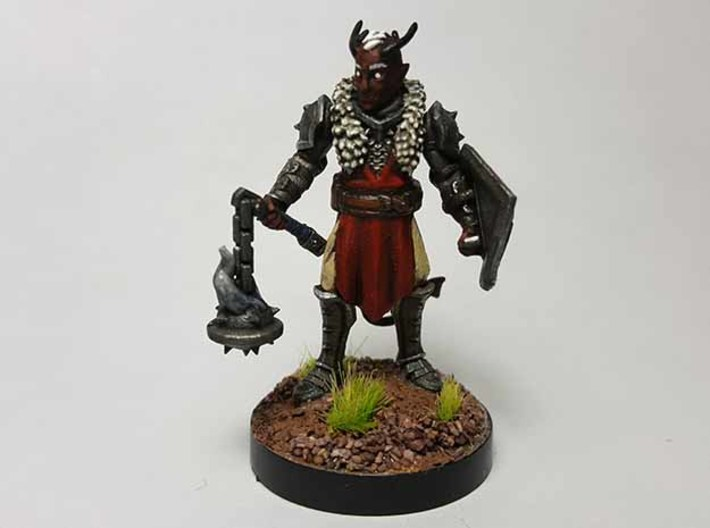 Tiefling Paladin (Modular) 3d printed Painted with acrylic paints and mounted on a 1 inch base.