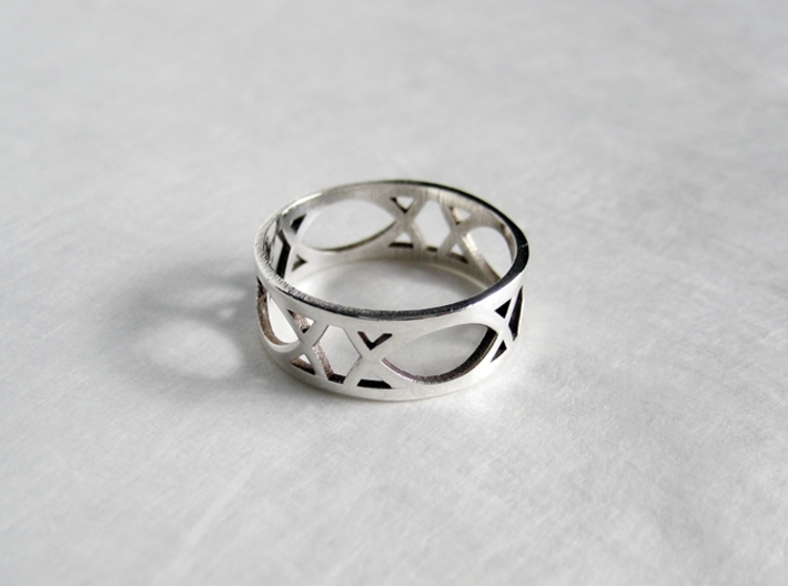 Art Deco Styled Ring  3d printed Art Deco Ring by seriaforma in Polished Silver