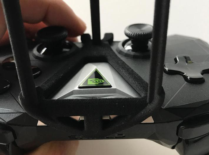 NVIDIA SHIELD 2017 controller & Lava V5 - Over the 3d printed SHIELD 2017 - Over the top - front view