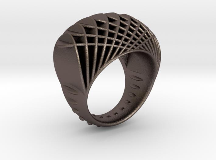 ring-dubbelbol-metaal / double concave metal 3d printed