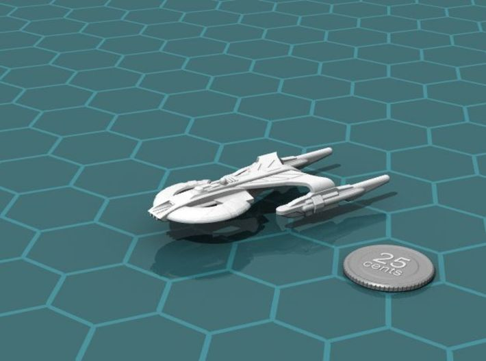 Xuvaxi Inquisitor 3d printed Render of the model, with a virtual quarter for scale.