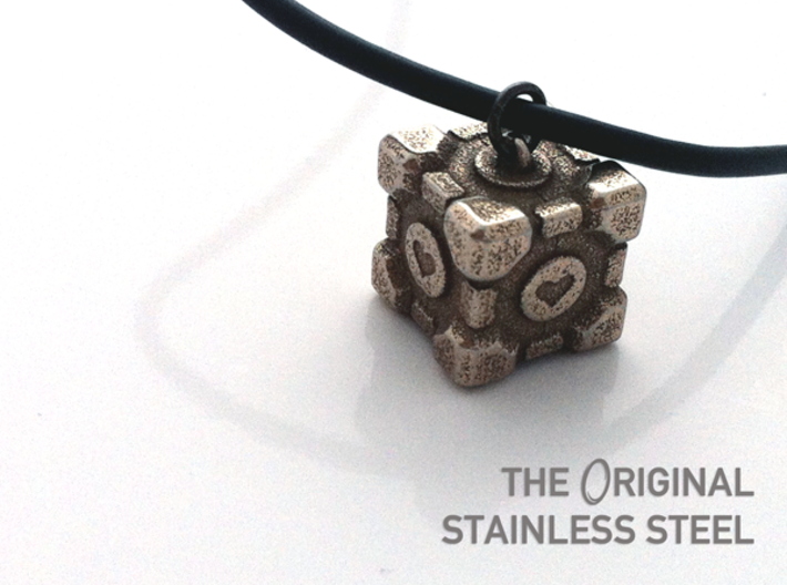 Weighted Companion Cube Pendant 3d printed