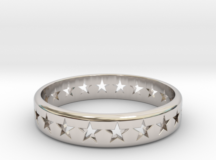 Stars Around (5 points, cut through, thick) - Ring 3d printed