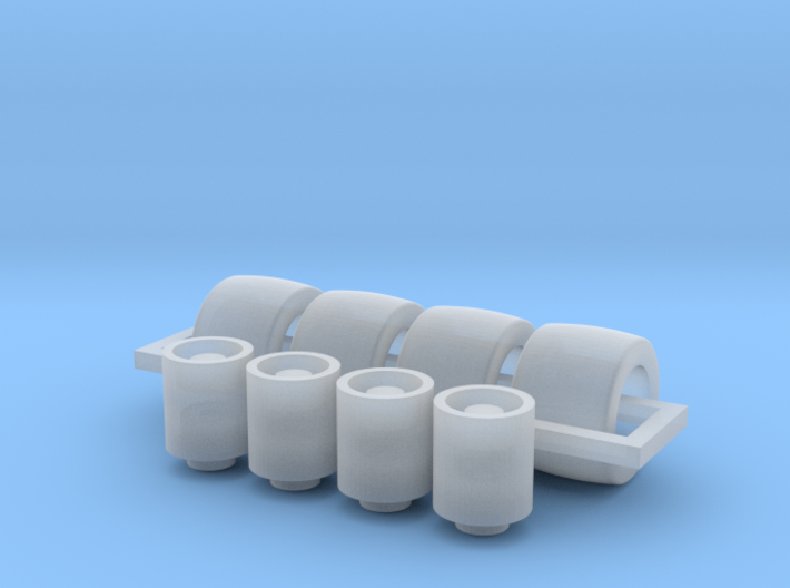 1/87 race car wheels and tires x 4 3d printed