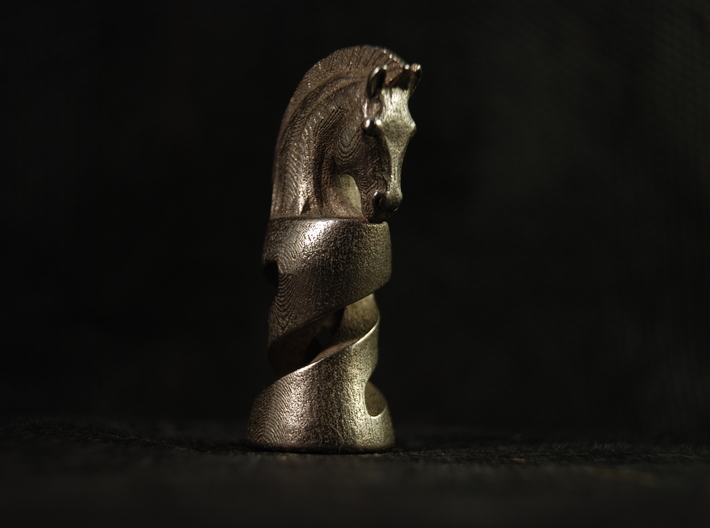 Chess Knight 3d printed Printed in Stainless Steel