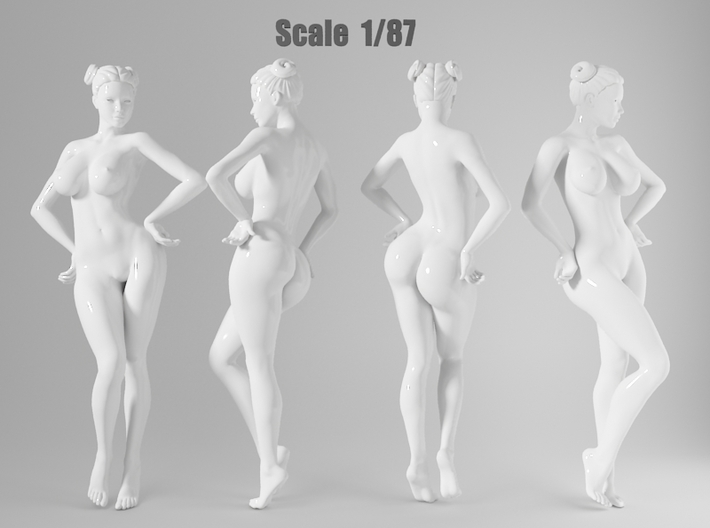 1:87 Sexy little girl in 2cm-002 3d printed
