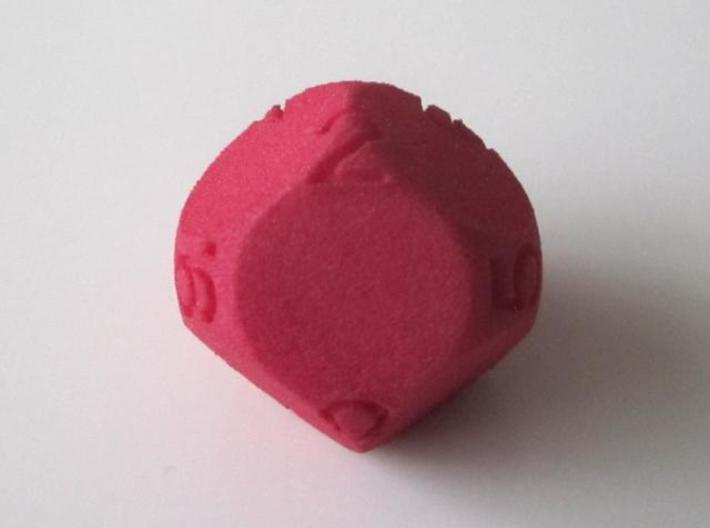 D9 Sphere Dice 3d printed in Red Strong and Flexible (other view)