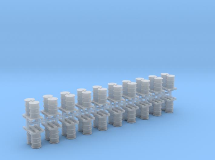 200 Liter Fässer auf Europalette 10er Set - 1:120 3d printed