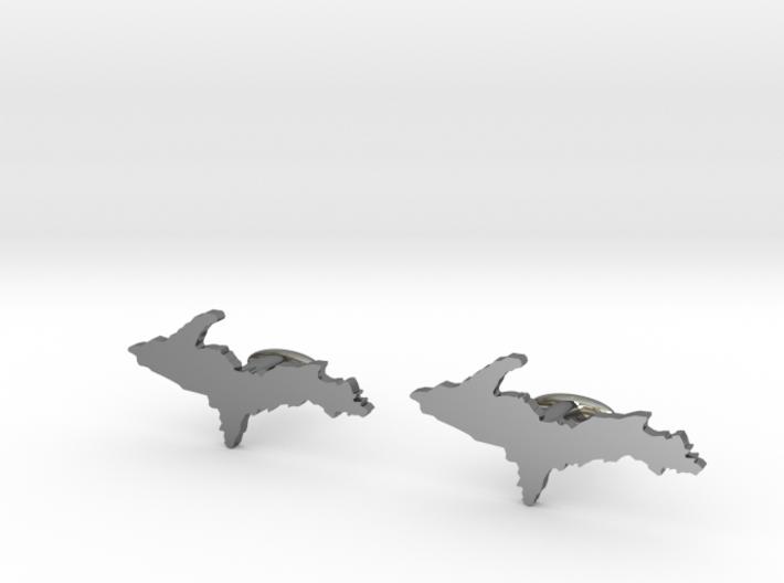Michigan Upper Peninsula Cufflinks 3d printed