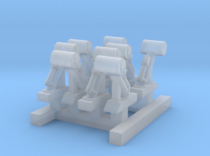 8xWW2_Depth_Charge_Guns_1_350th_scale 3d printed