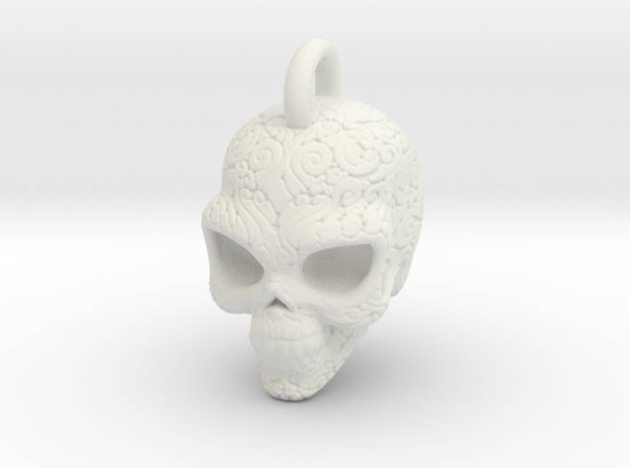 Day of the Dead/ Halloween Skull Pendant 2.6cm 3d printed