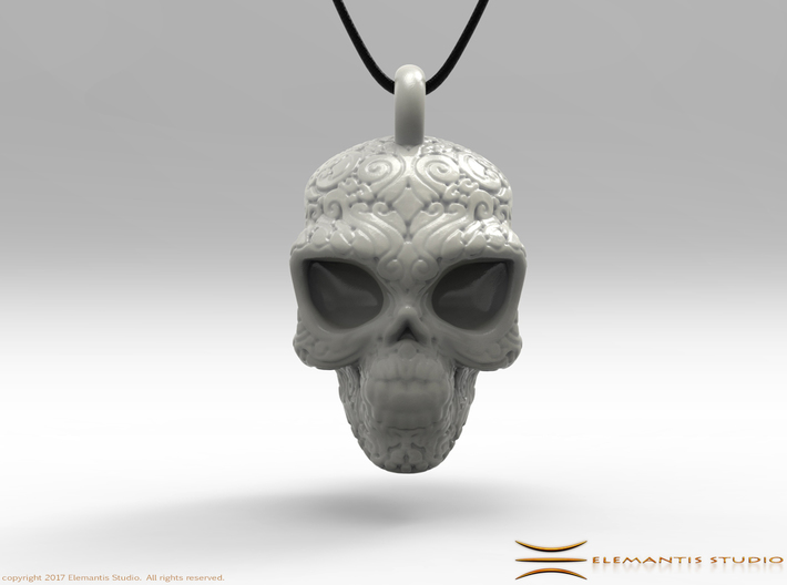 Day of the Dead/ Halloween Skull Pendant 2.6cm 3d printed Pendant cord not included