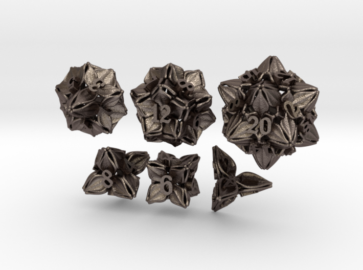 Floral Dice - Gaming Set (6 dice) 3d printed