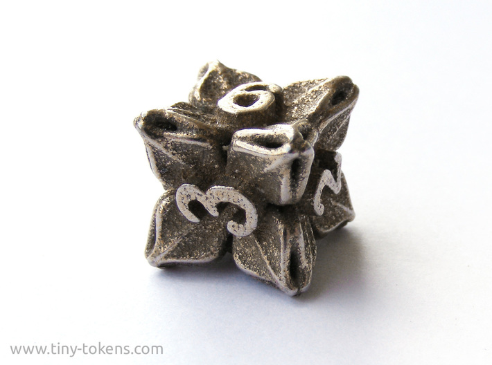 Floral Dice – D6 Gaming die 3d printed Plain stainless steel