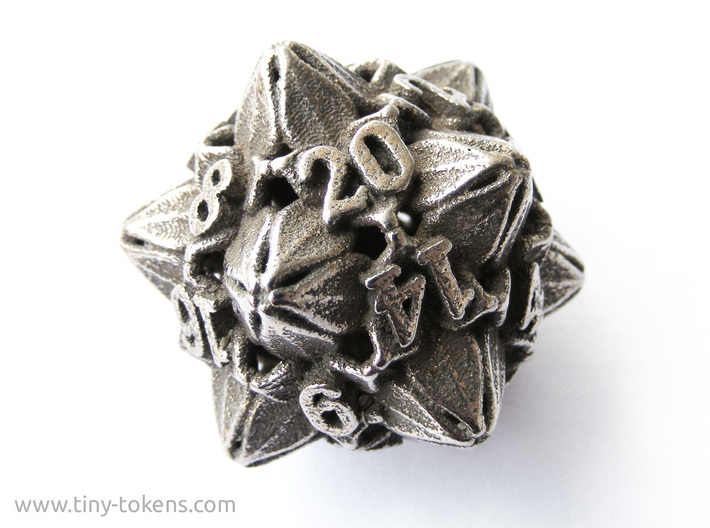 Floral Dice – D20 Gaming die 3d printed Plain stainless steel
