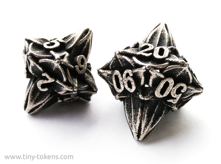 Floral Dice – 10D10 Gaming die (decader) 3d printed The 10d10 compared to the d10