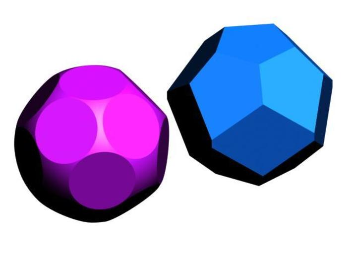 D17 Sphere Dice 3d printed CG Rendering with the underlying polyhedron (17 sides)