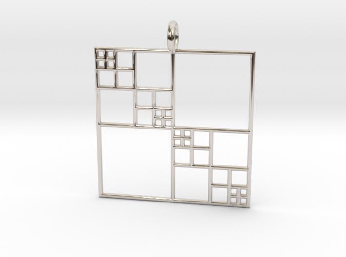 Fractal Squares - Pendant 3d printed