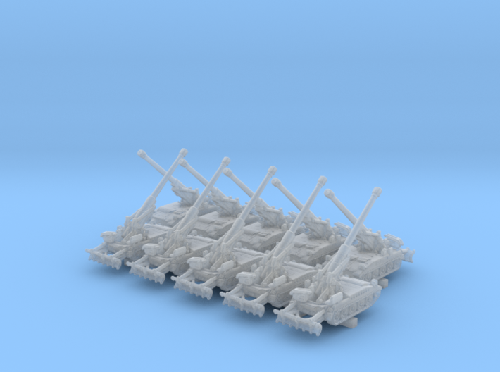 1/600 US M110A2 Howitzer Artillery 40º x10  3d printed 1/600 US M110A2 Howitzer Artillery 40º x10