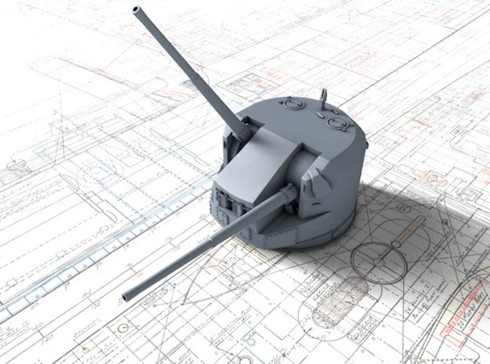 1/400 Dual Purpose 5.25 Inch Guns 1941 x8 3d printed 3d render showing product detail