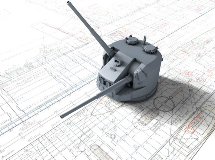 1/400 Dual Purpose 5.25 Inch Guns 1943 x8 3d printed 3d render showing product detail