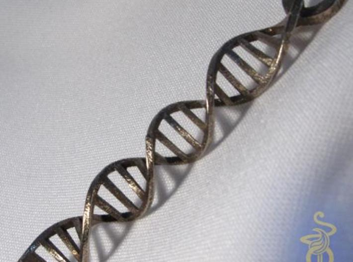 DNA  Pendant in 3D printed stainless steel 3d printed 2