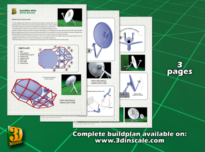 Satellite dish (30mm) - double pack 3d printed satellite dish 30 mm double pack - instruction sheet