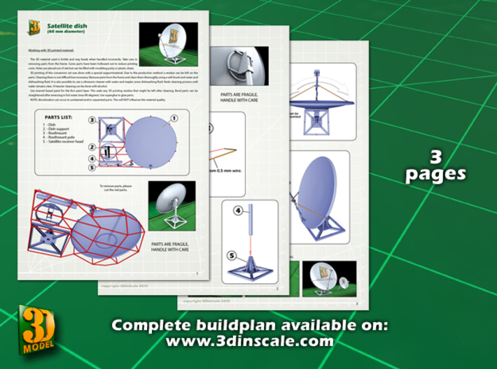 Satellite dish (30+60mm) - set 3d printed Satellite dish set (2x30mm+60mm) - 60mm - instruction sheet