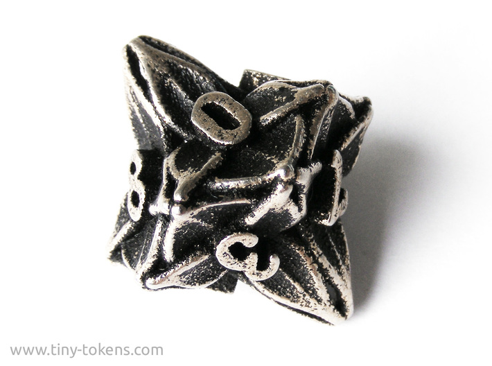 Floral Dice – D10 Spindown Life Counter die 3d printed A picture of the non-spindown version of this design in stainless steel