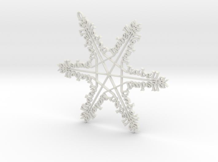 Isabella snowflake ornament 3d printed