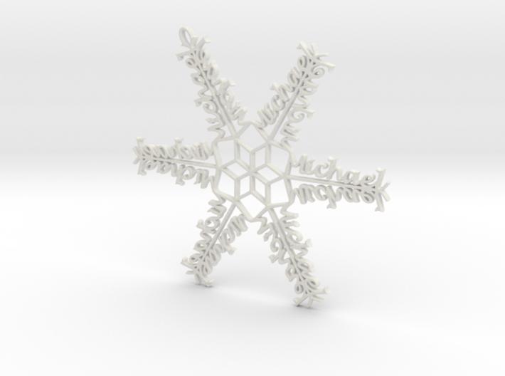 Michael snowflake ornament 3d printed