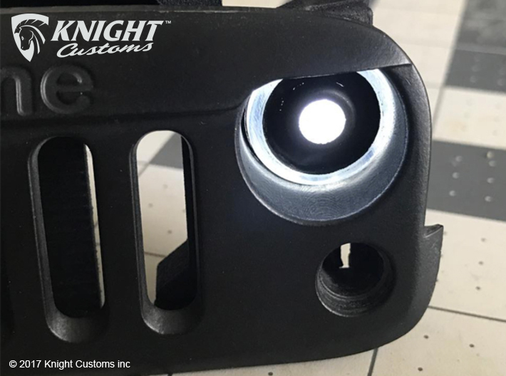 AJ40011 Halo Light Bucket Set 3d printed Parts will need painting correctly to achieve the desired Halo effect. The lights can be powered by a single 5mm LED or an optional second 5mm LED for other effects (LED's sold separately).