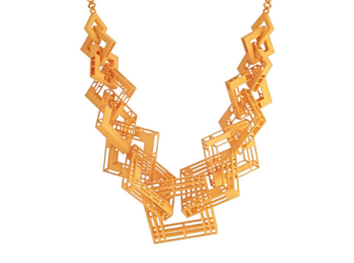 55cm Solid - Structure Square Necklace 3d printed
